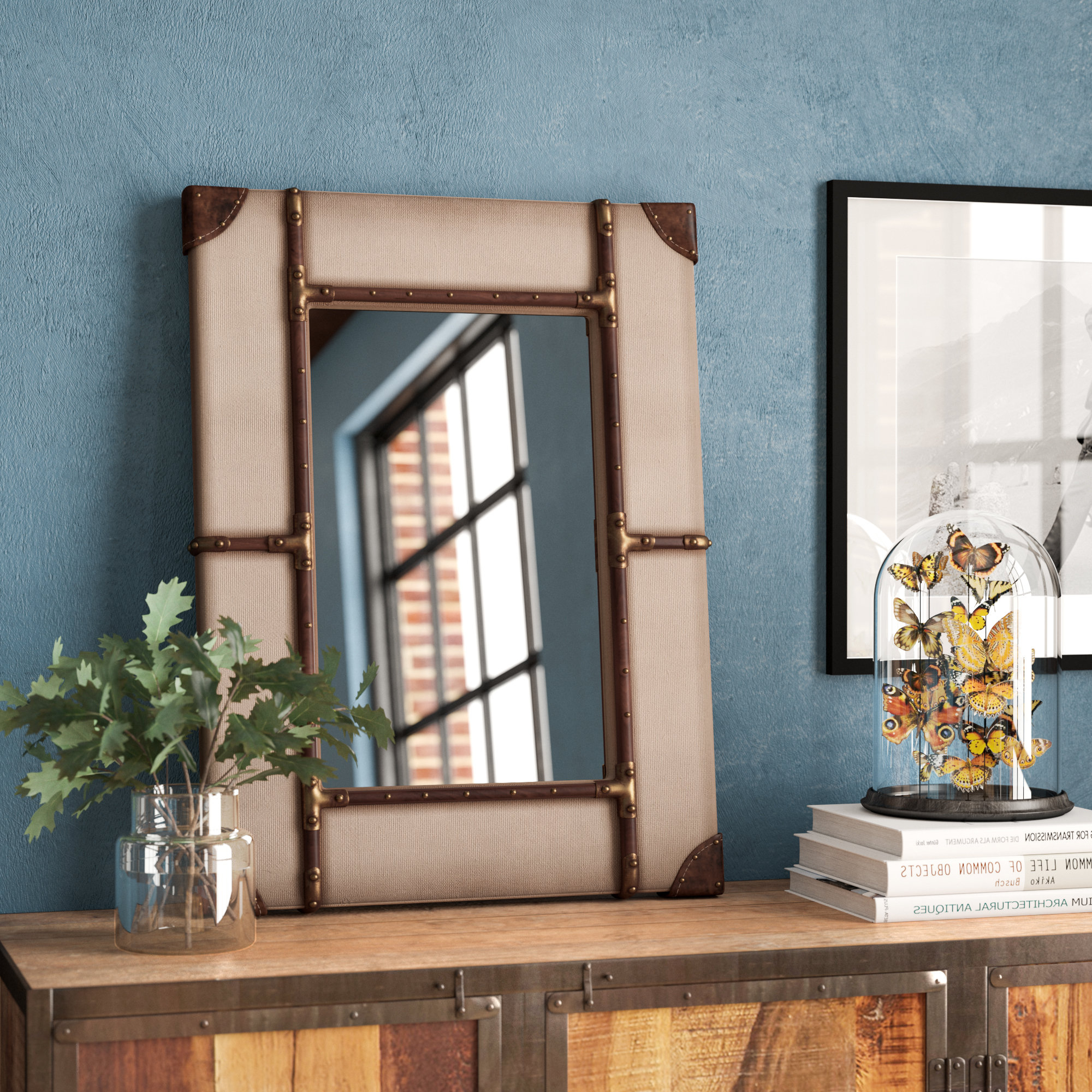 Widely Used Durante Rectangle Vintage Framed Wall Mirror Inside Koeller Industrial Metal Wall Mirrors (View 18 of 20)