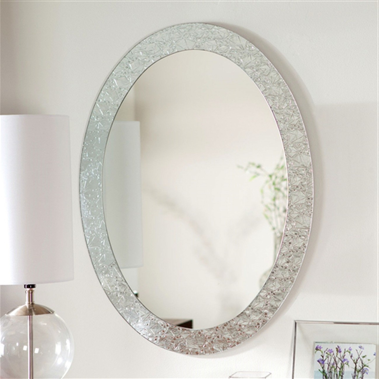 Widely Used Elegant Wall Mirrors Pertaining To Oval Frame Less Bathroom Vanity Wall Mirror With Elegant Crystal (Gallery 12 of 20)