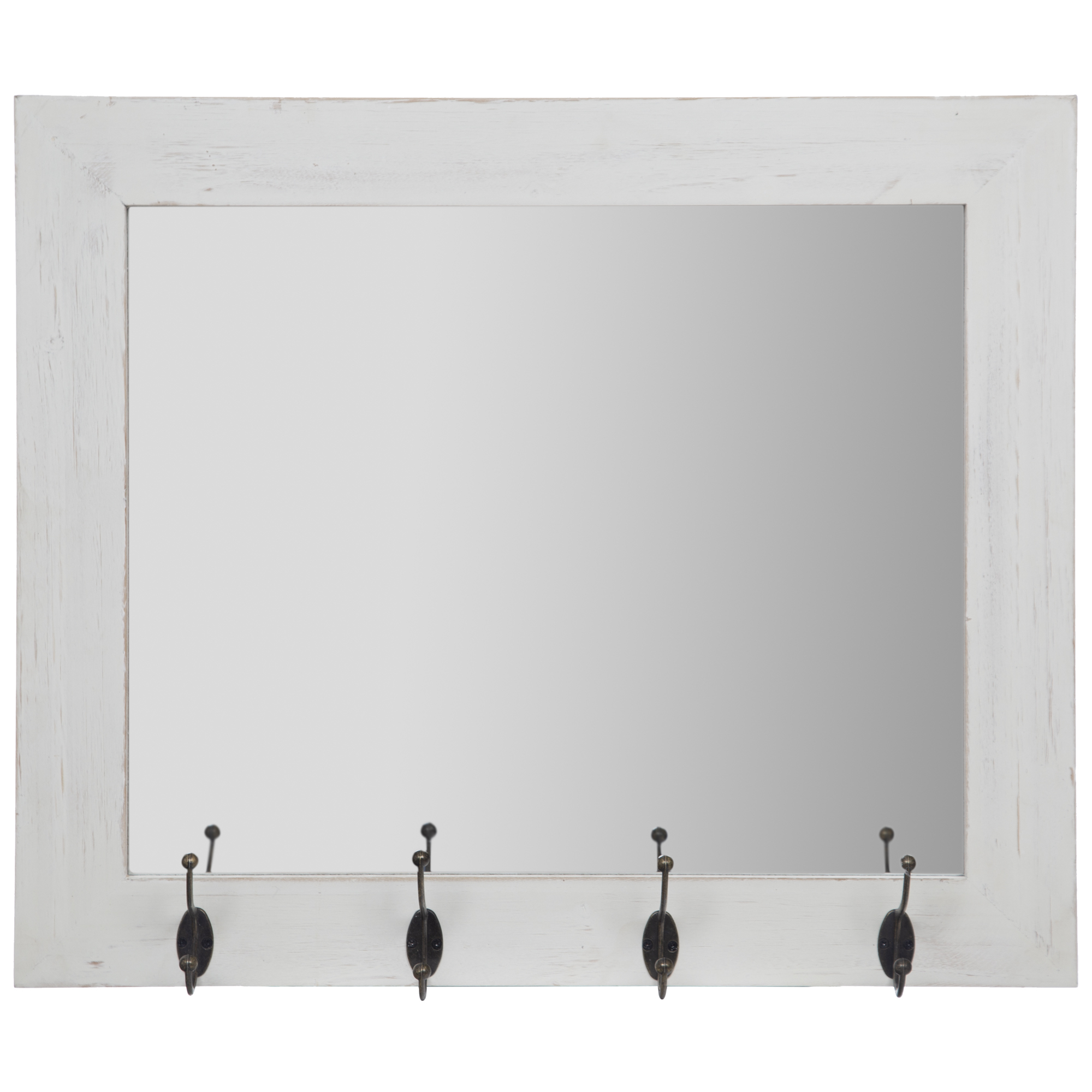 "Widely Used Entryway Wall Mirrors With Rustic White Entryway Wall Mount Mirror With Hooks 17""x21""gallery Solutions (View 20 of 20)"