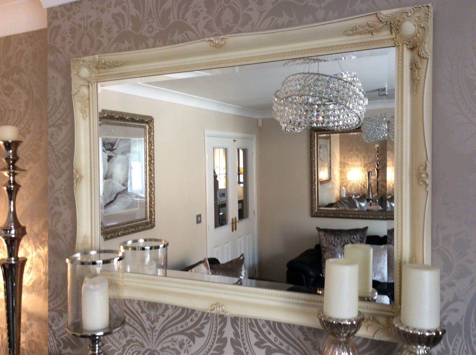 Widely Used Extra Large Decorative Cream Shabby Chic Wall Mirror – 46inch X In Extra Large Framed Wall Mirrors (View 14 of 20)