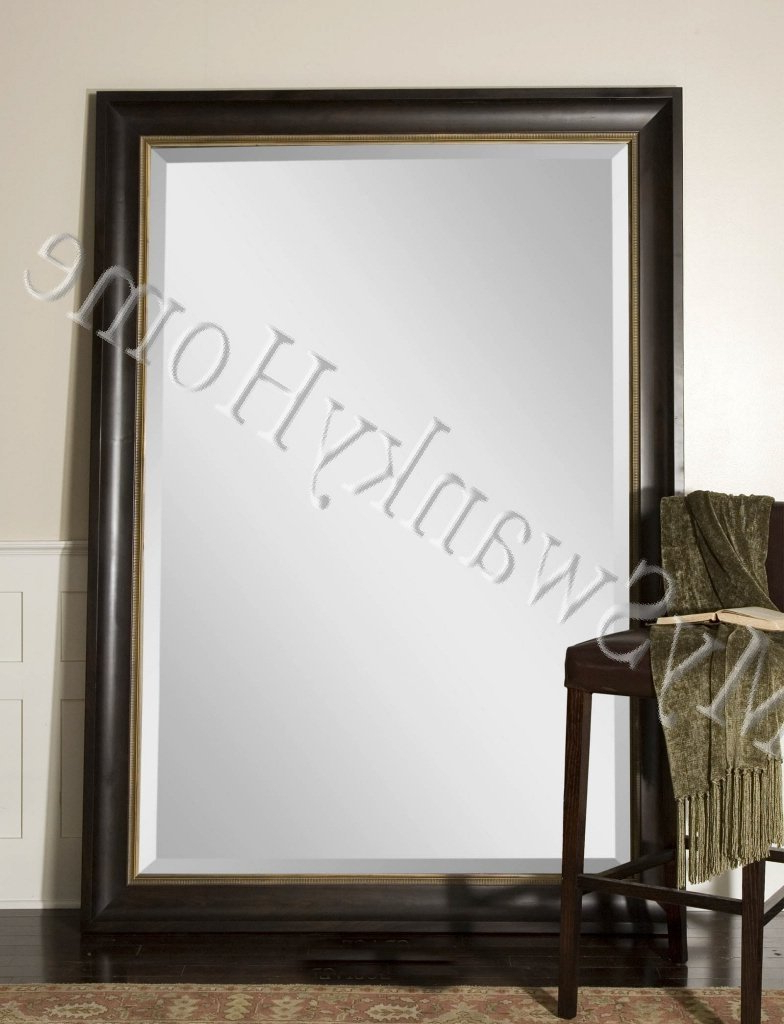 """Widely Used Extra Large Wall Mirrors With My Swanky Home Extra Large 82"""" Wall Mirror Dark Wood Xl Full Length Floor  Leaner (Gallery 1 of 20)"""