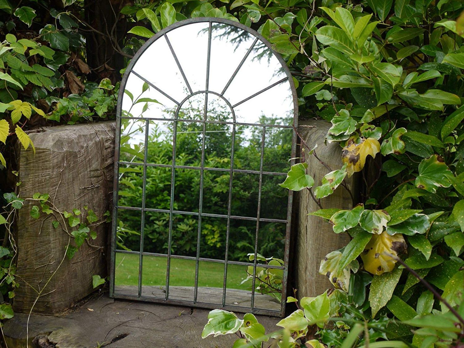 Widely Used Garden Wall Mirrors Within Large Decorative Gothic Arched Door Metal Framed Garden Wall Mirror Arch 77cm (View 4 of 20)