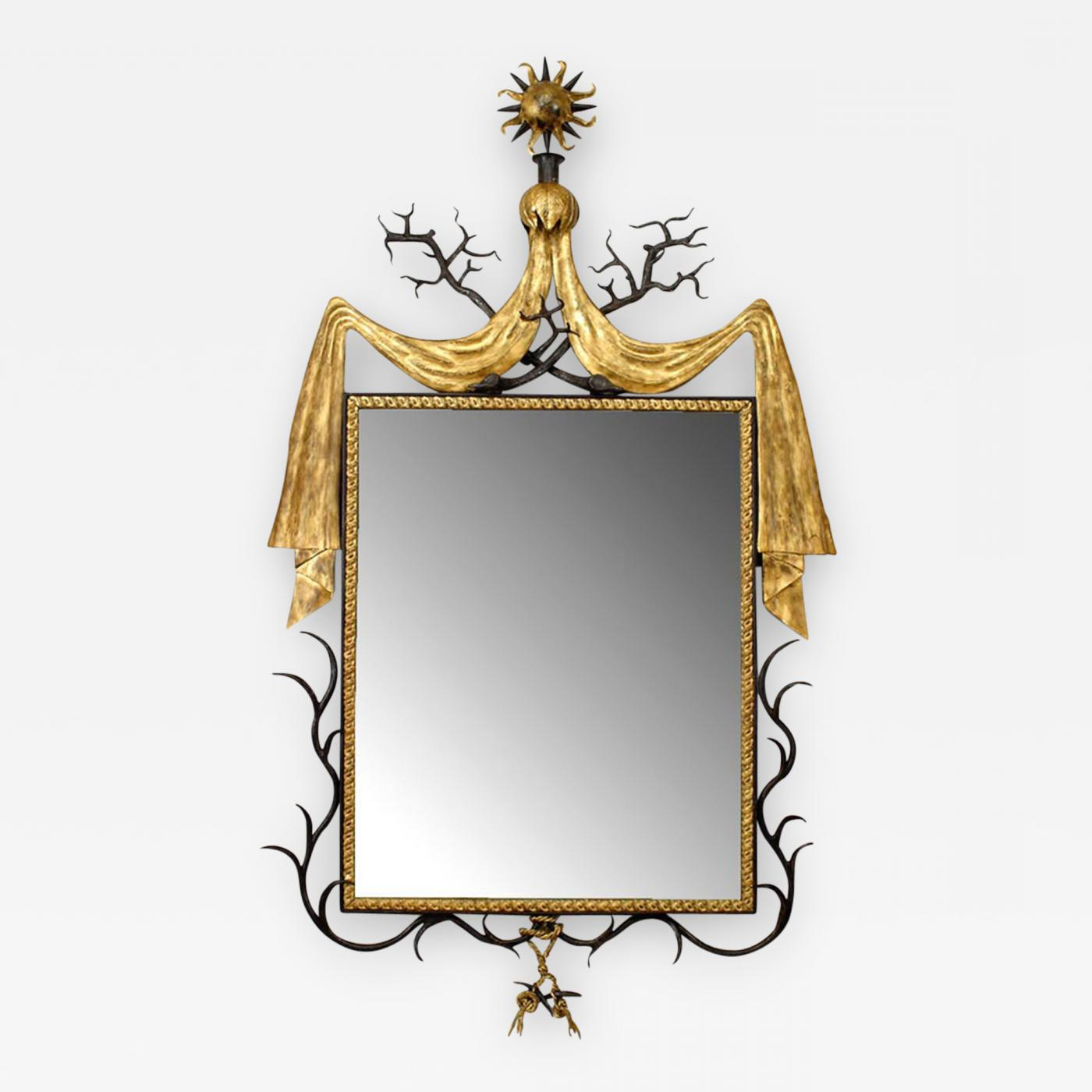 Widely Used Gilbert Poillerat – French 1940s Style Iron And Gold Trimmed Wall Mirror In Gilbert Wall Mirrors (View 7 of 20)