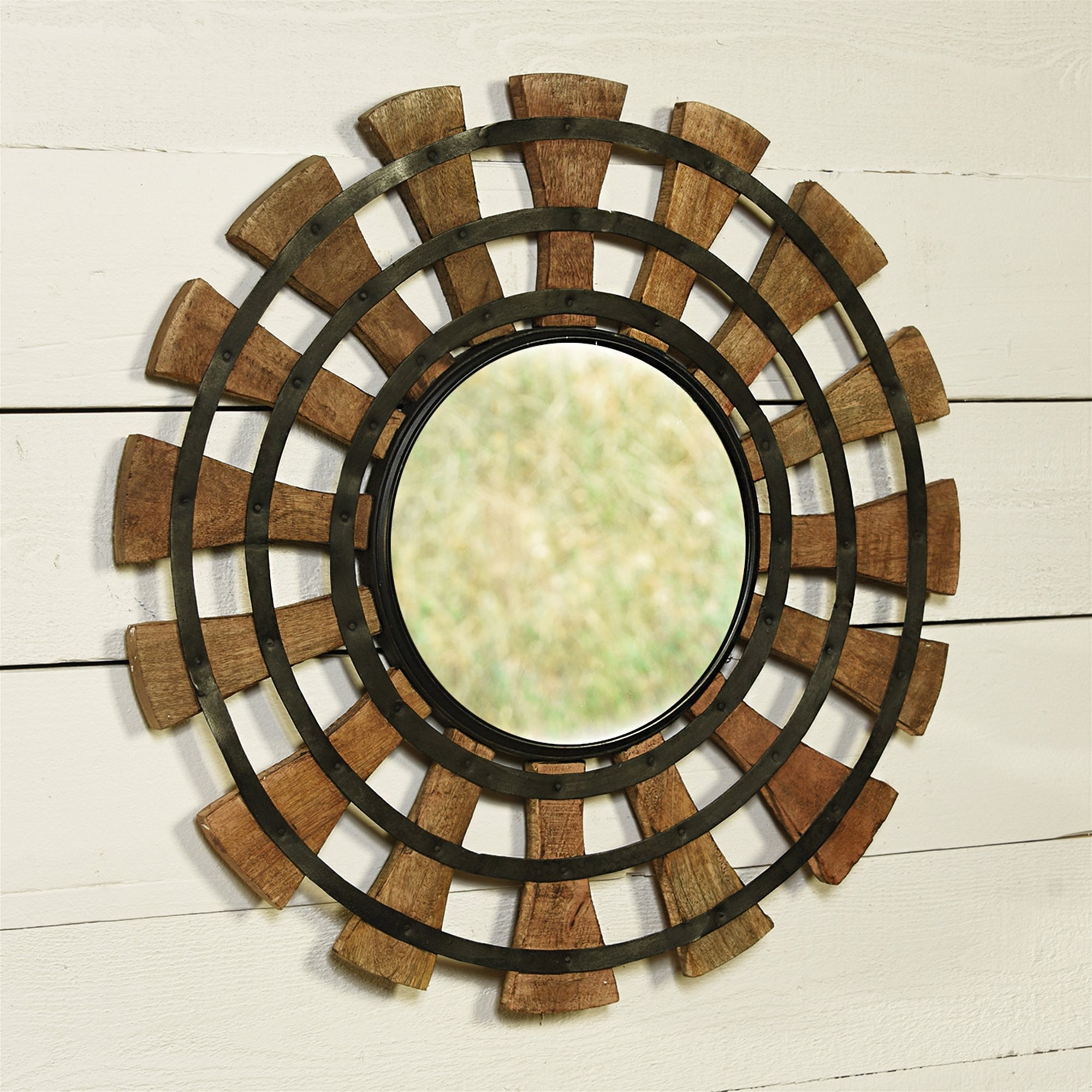 Widely Used Gurney Slade Round Wood Accent Mirror Intended For Wood Accent Mirrors (Gallery 11 of 20)