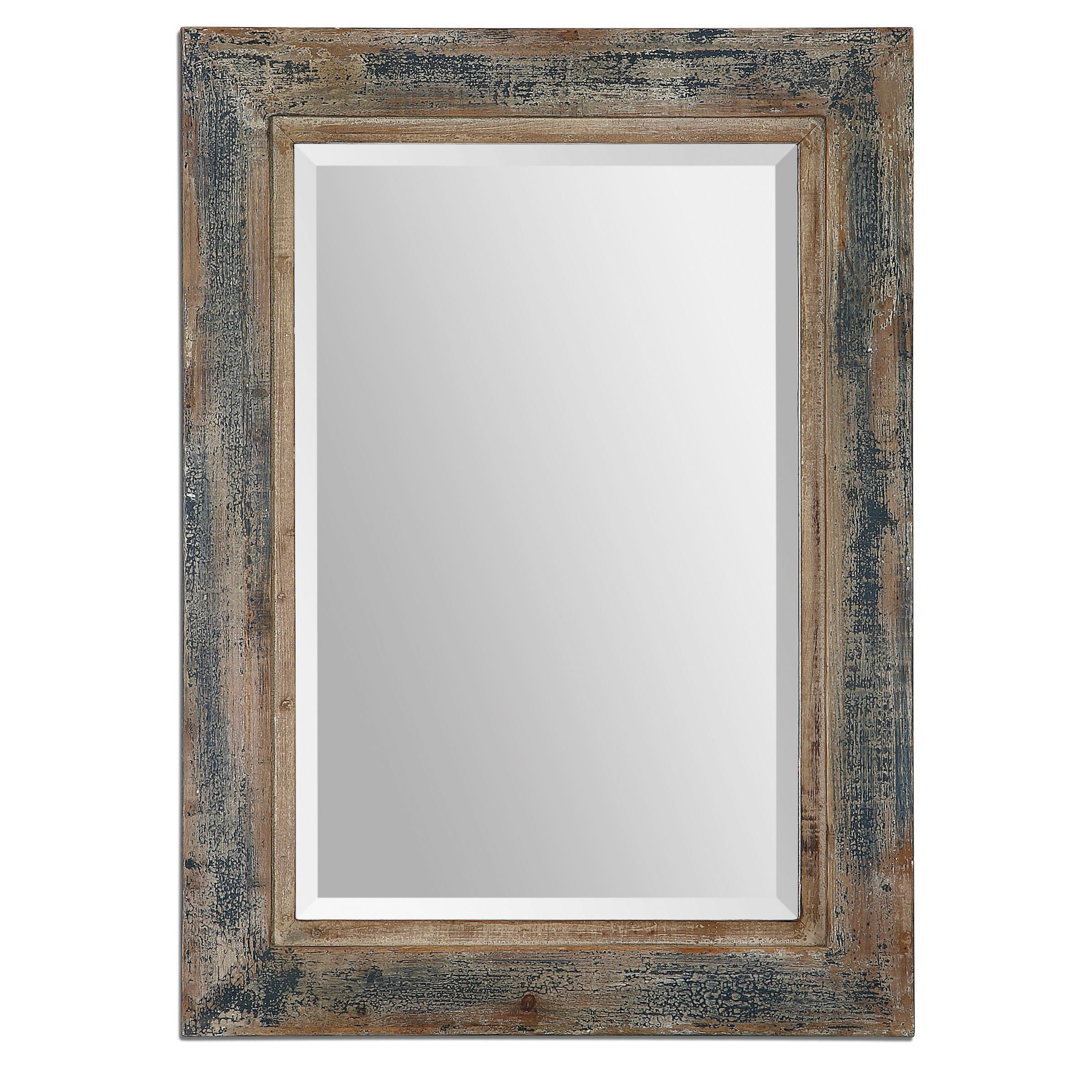 Widely Used Janie Rectangular Wall Mirrors Regarding Uttermost Bozeman Distressed Blue Wood Mirror In  (View 19 of 20)