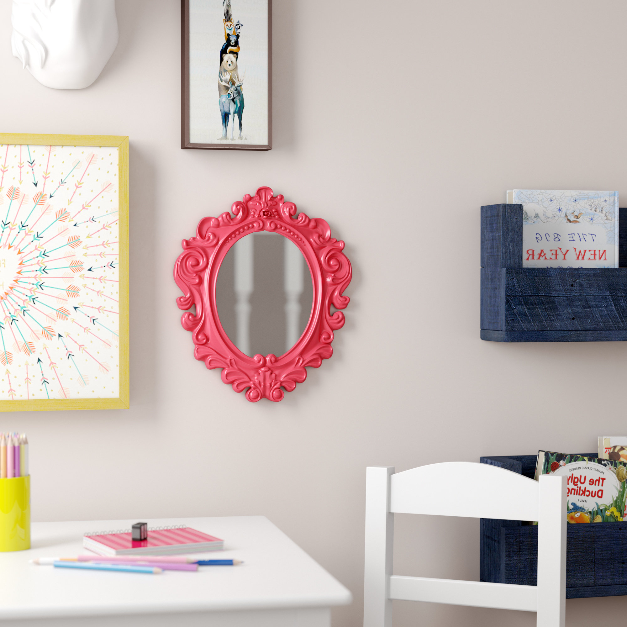 Widely Used Kids Wall Mirrors Pertaining To Clardy Kids Vanity Mirror Framed Wall Hanging (Gallery 3 of 20)