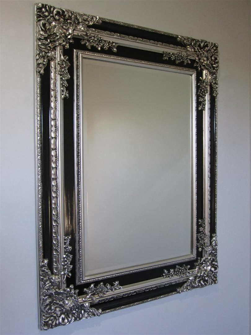 Widely Used Large Black Framed Wall Mirrors With Regard To Large Ornate Frame Wall Mirror Black & Silver – (View 17 of 20)