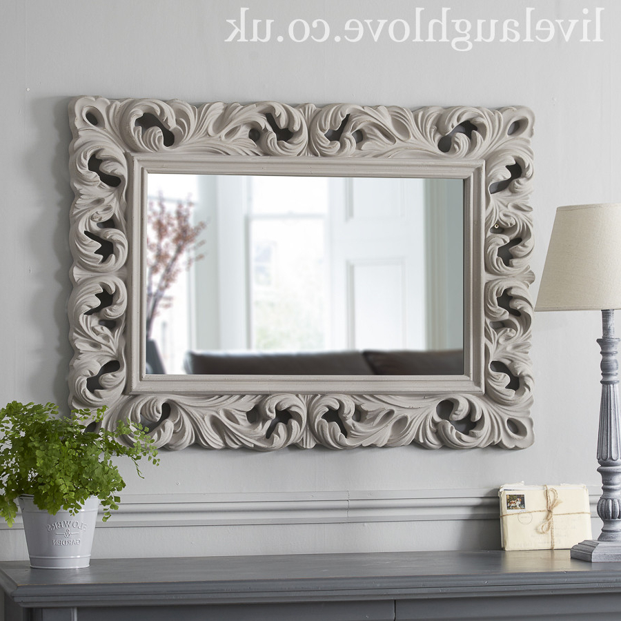 Widely Used Large Carved Ornate Mirror – Grey Regarding Large Ornate Wall Mirrors (View 2 of 20)