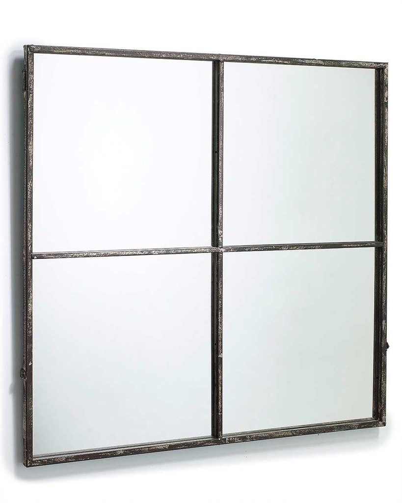 Widely Used Large Square Wall Mirrors Pertaining To Window Pane Mirror (Distressed Black Metal Frame, 4 Panes, H (View 20 of 20)