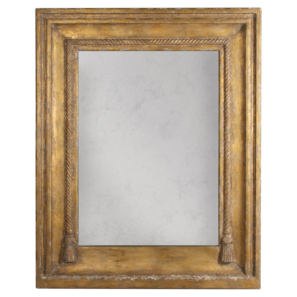 Widely Used Lou French Country Rustic Brown Gold Frame Antiqued Wall Mirror Intended For Gold Framed Wall Mirrors (View 17 of 20)