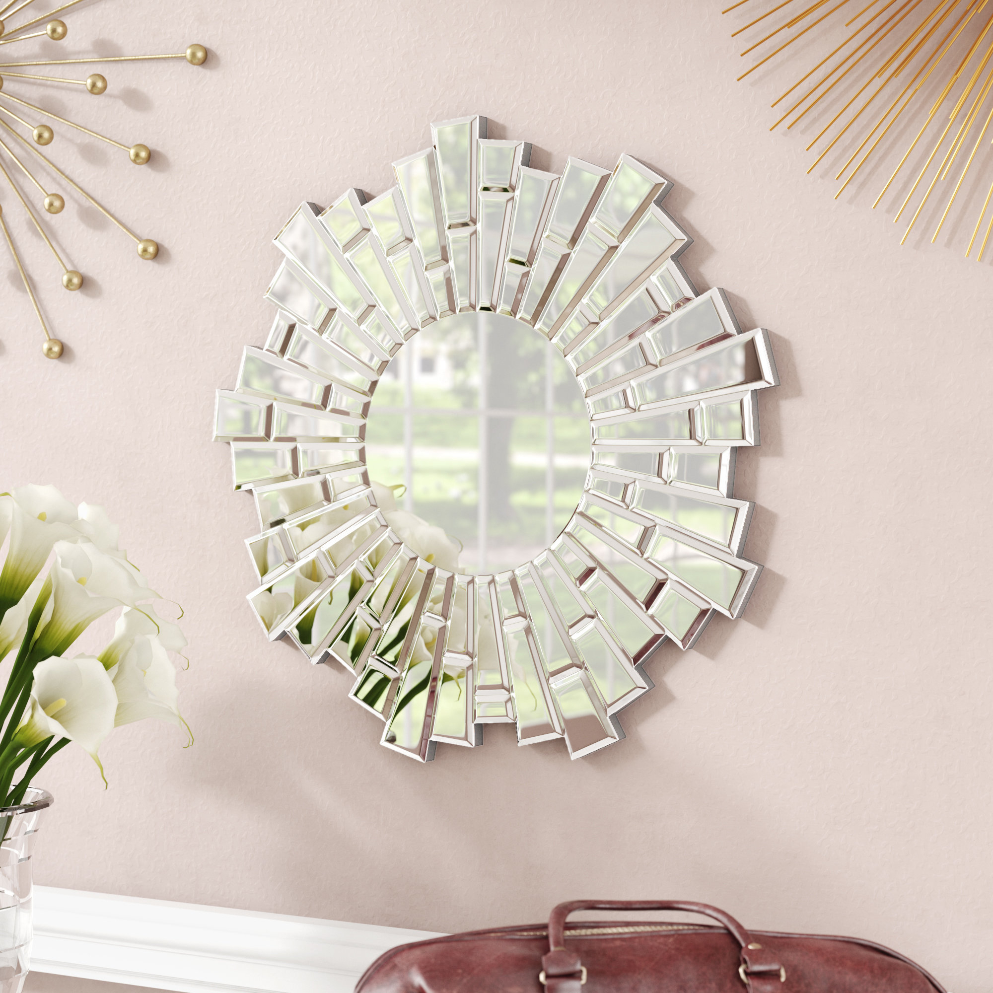 Widely Used Naoma Modern Sunburst Glass Accent Mirror Within Deniece Sunburst Round Wall Mirrors (View 14 of 20)