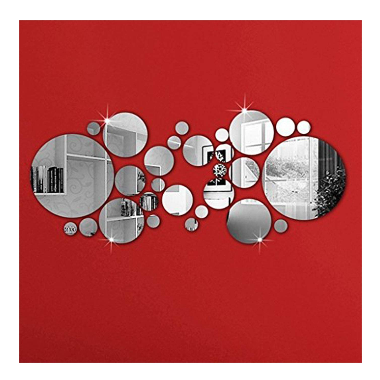 Widely Used Omgai Diy Mirror Wall Sticker, Removable Round Acrylic Mirror Decor Of Self Adhesive Circle For Art Window Wall Decal Kitchen Home Decoration, 30Pcs With Regard To Stick On Wall Mirrors (View 7 of 20)