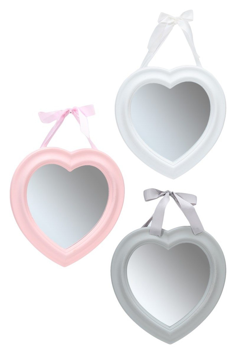 Widely Used Pink Wall Mirrors Within Shabby Chic Heart Shaped Wooden Wall Mirror, Vintage Style Framed Mirror  27Cm X  (View 20 of 20)