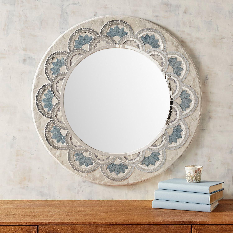 "Widely Used Point Reyes Molten Round Wall Mirrors Regarding Blue Capiz Flower 32"" Round Mirror (View 9 of 20)"