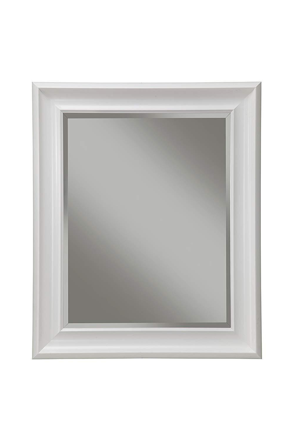 Widely Used Polystyrene Framed Wall Mirror With Beveled Glass, White (View 9 of 20)