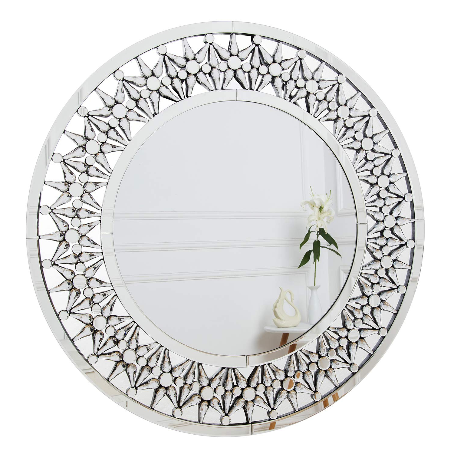 Widely Used Richtop Wall Mirror Large Starburst Crystal Mosaic Frame Round Wall Mounted Mirrors For Living Room, Bedroom, Hallway, Kitchen 90cm X 90cm With Regard To Big Round Wall Mirrors (View 12 of 20)