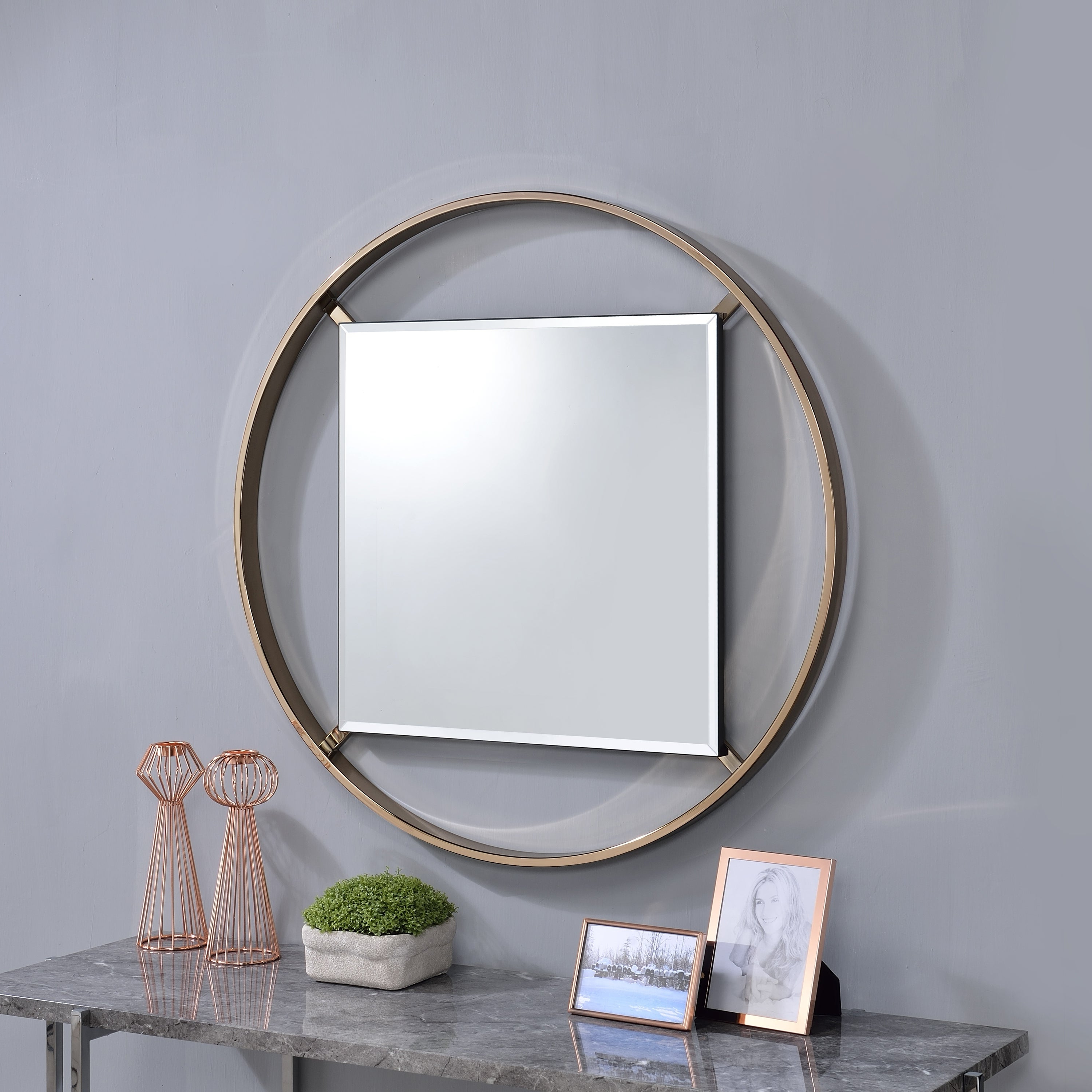 Widely Used Round Beveled Wall Mirrors With Regard To Furniture Of America Eugene 5mm Round Beveled Wall Mirror – A/n (View 15 of 20)