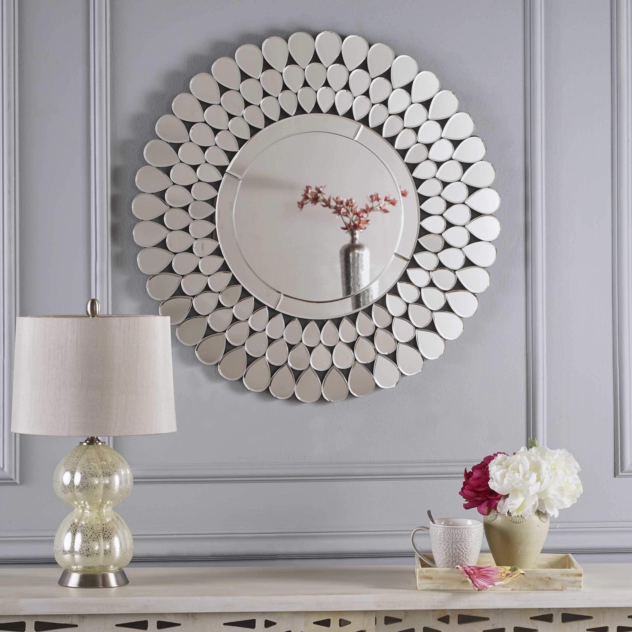 Widely Used Sajish Oval Crystal Wall Mirrors With Regard To 3rd Fl Irmgard Round Flower Wall Mirrorchristopher Knight Home (View 13 of 20)