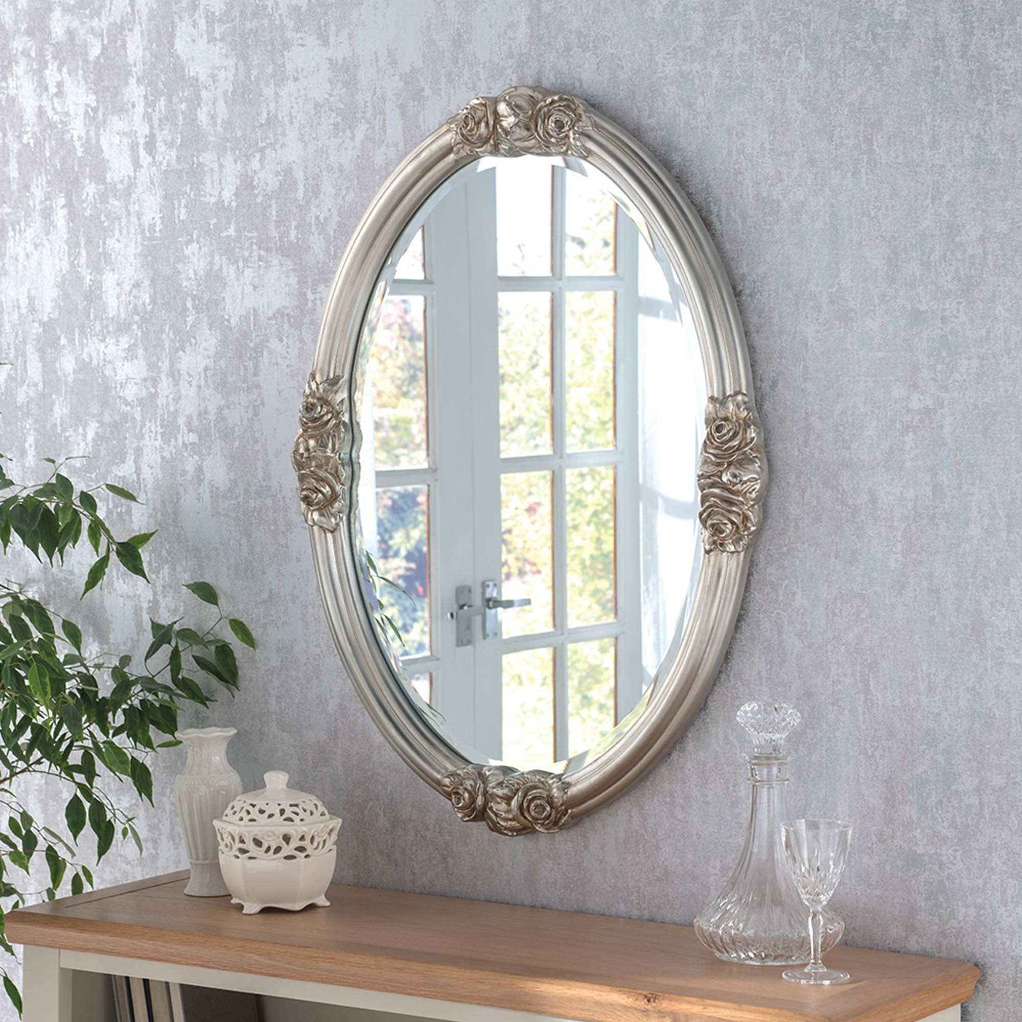 Widely Used Silver Oval Wall Mirrors With Decorative Oval Silver Ornate Wall Mirror (View 20 of 20)