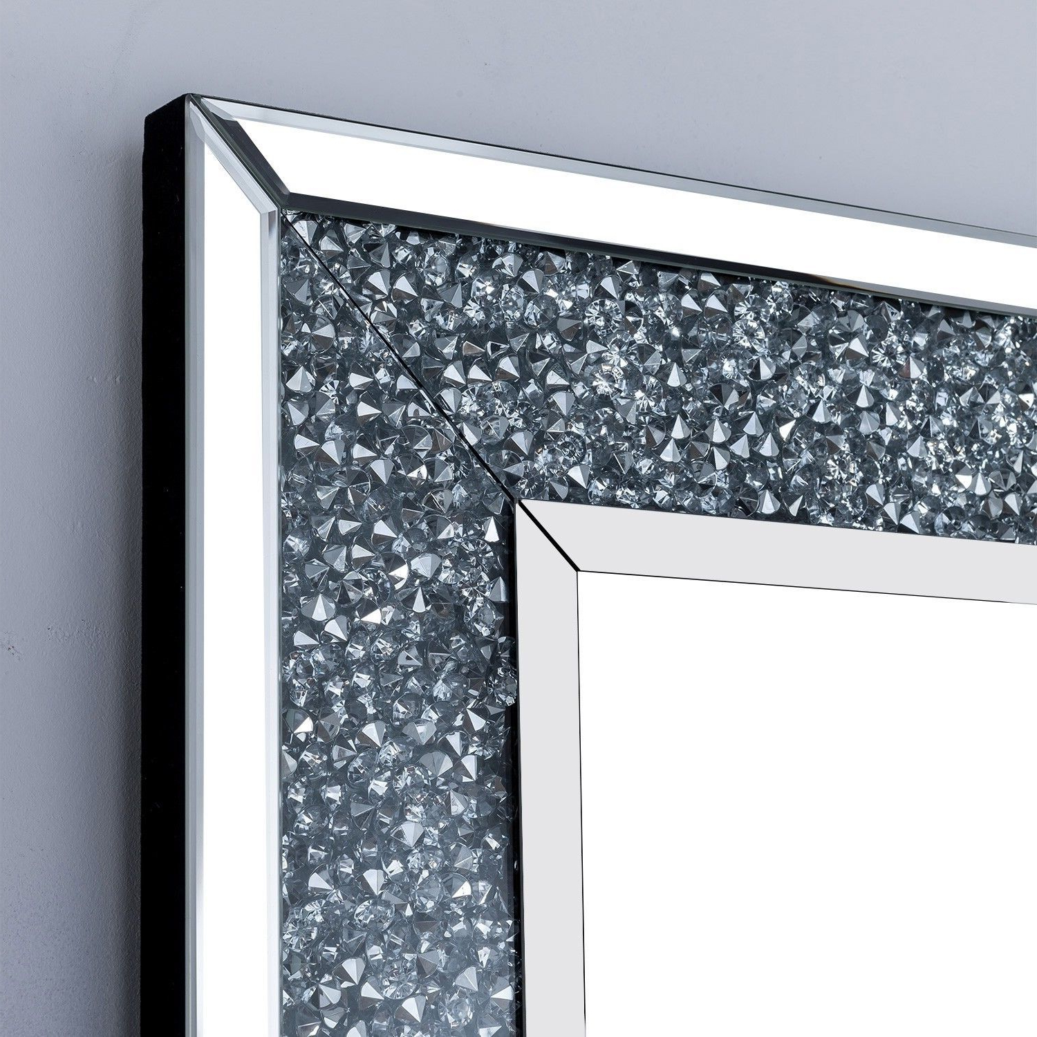 Widely Used Sparkle Wall Mirrors For Large Silver Mirrored Glass Crushed Diamond Glitz Sparkle Rectangle Wall Mirror (vdc Mr Rc 80 120) (View 10 of 20)