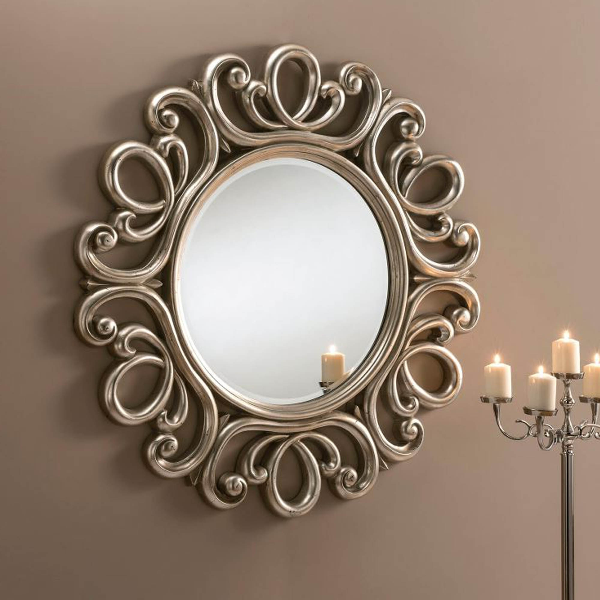 Widely Used Swirl Wall Mirrors Within Antique Silver Swirl Ornate Wall Mirror (View 13 of 20)