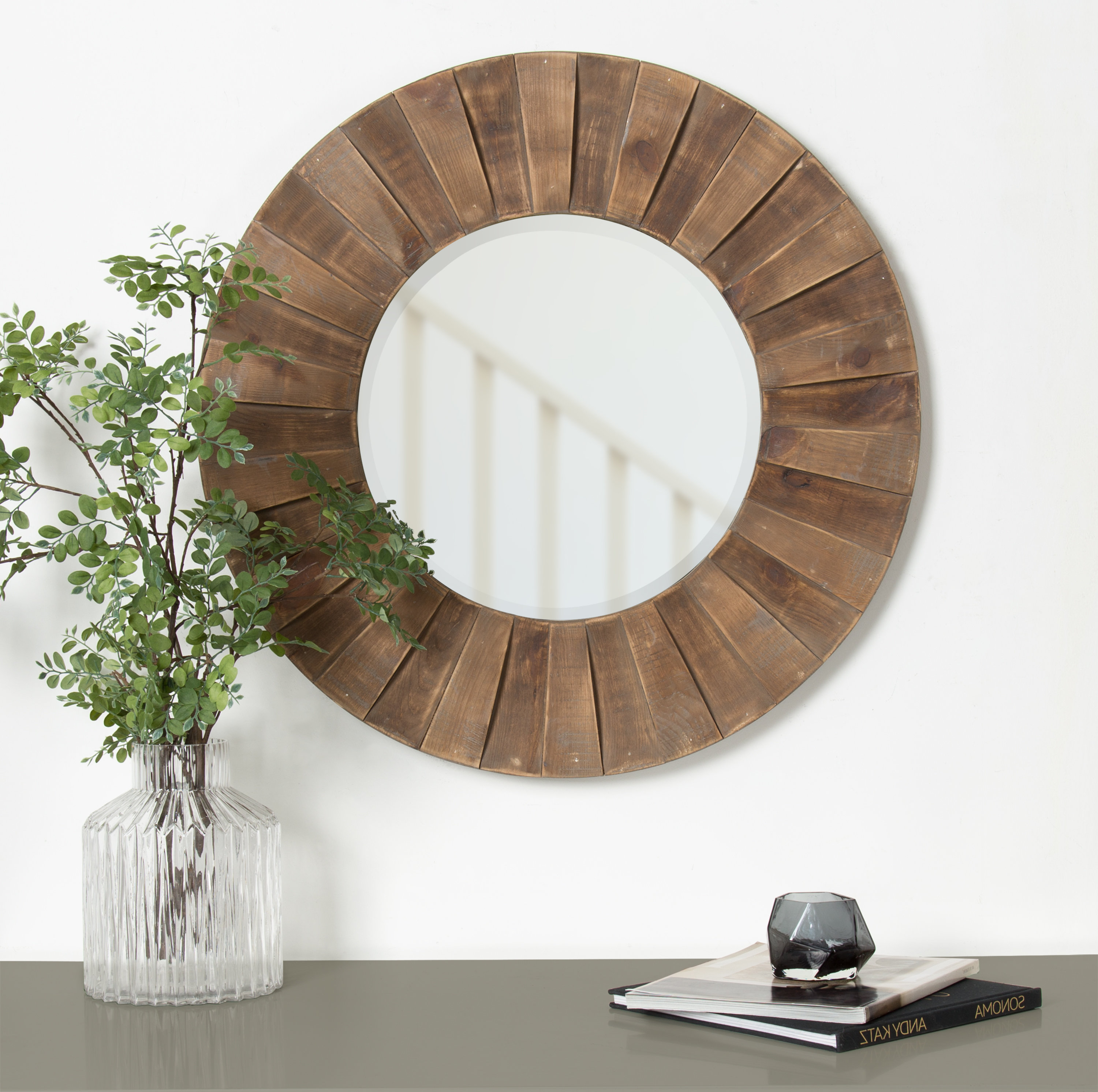 Widely Used Wood Framed Wall Mirrors With Regard To Carla Sunburst Natural Wood Frame Accent Wall Mirror (View 18 of 20)