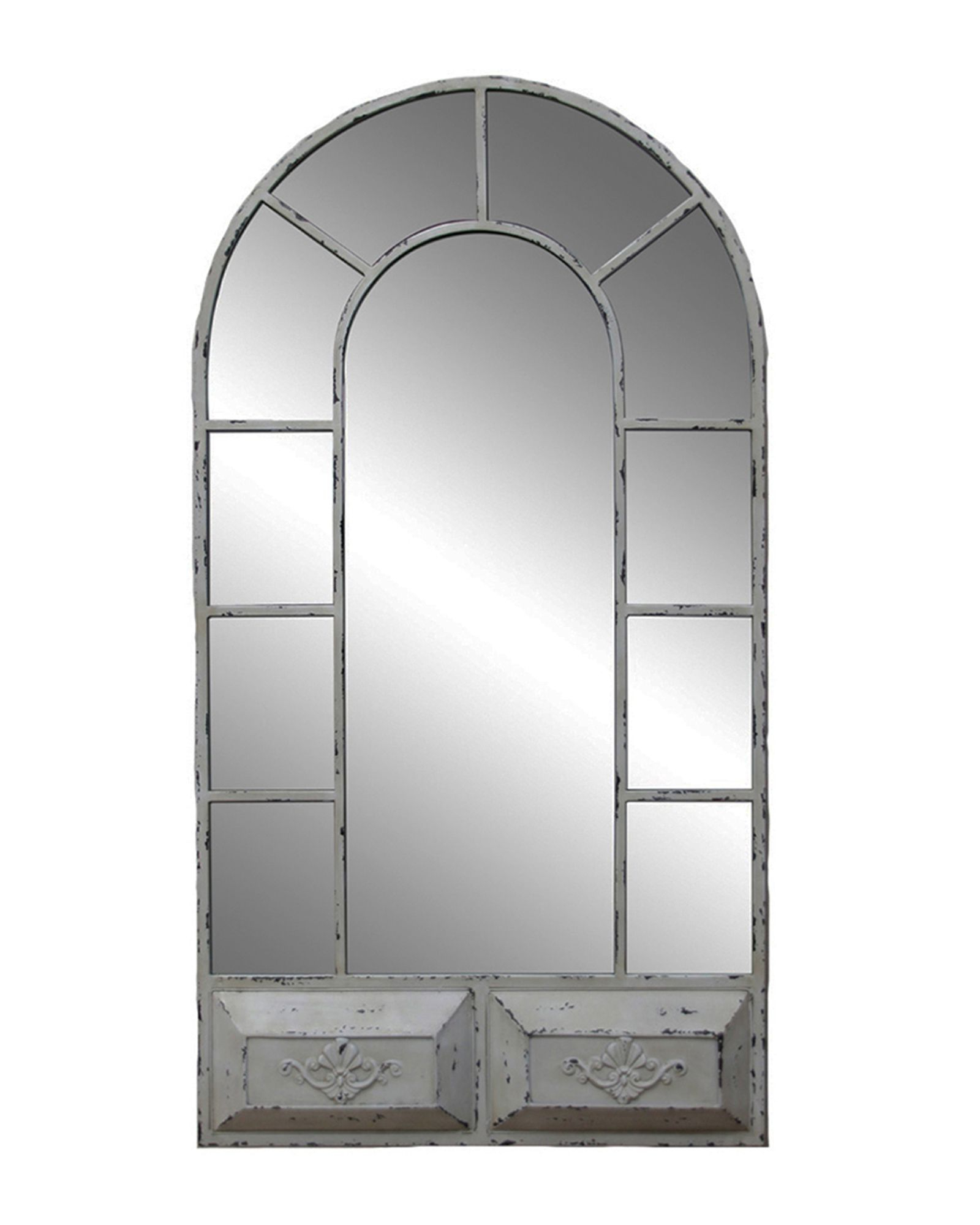 Window Cream Wood Wall Mirrors Pertaining To Best And Newest Vintage Window Wall Mirror In (View 2 of 20)