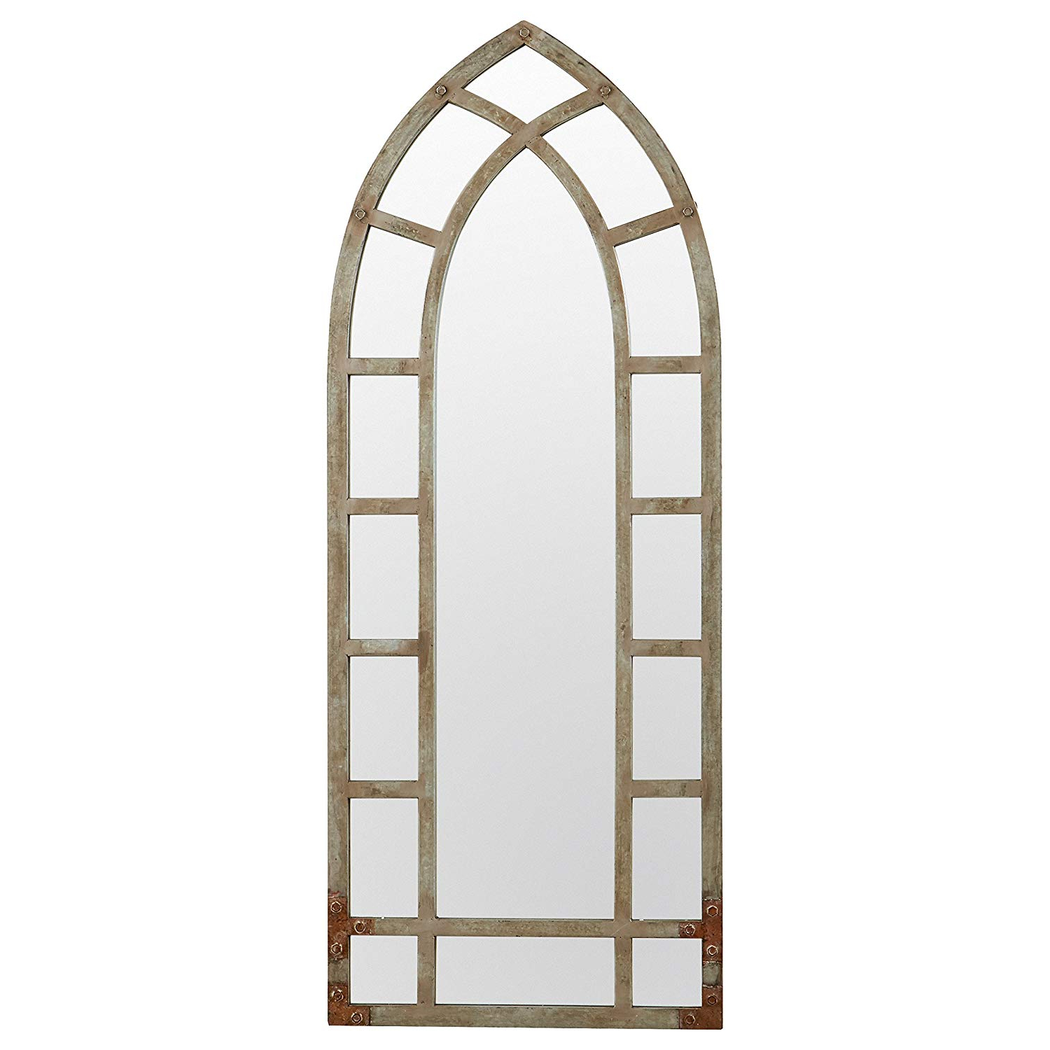 Window Cream Wood Wall Mirrors Throughout Trendy Stone & Beam Modern Arc Metal Frame Hanging Wall Mirror Decor, (View 14 of 20)