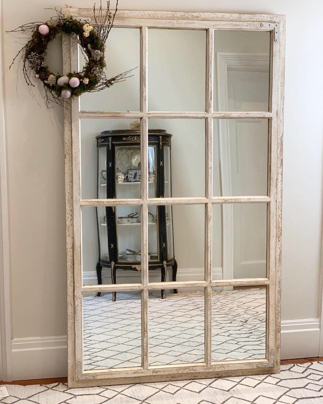 Window Cream Wood Wall Mirrors With Regard To Best And Newest Ella Window Mirror – Cream Distressed (View 9 of 20)