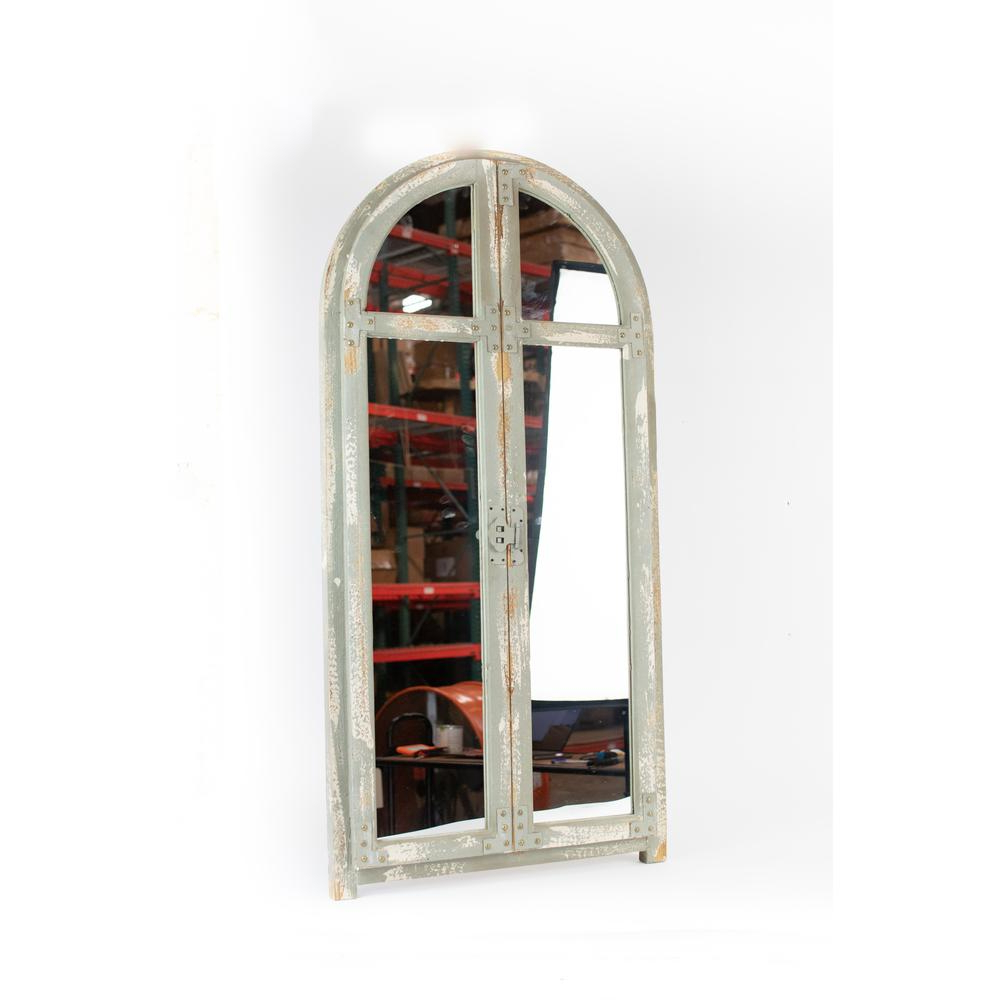 Window Wall Mirrors For Most Recent Arched Window Rustic Brown Wood Frame Wall Mirror (View 11 of 20)