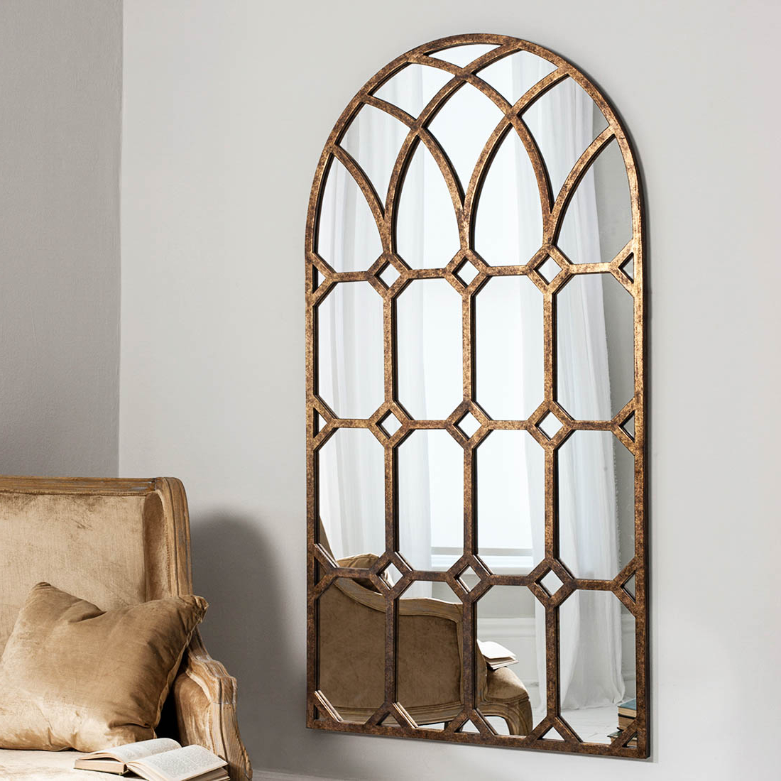 Window Wall Mirrors Pertaining To Most Up To Date Bronze Gothic Arched Window Wall Mirror (View 6 of 20)