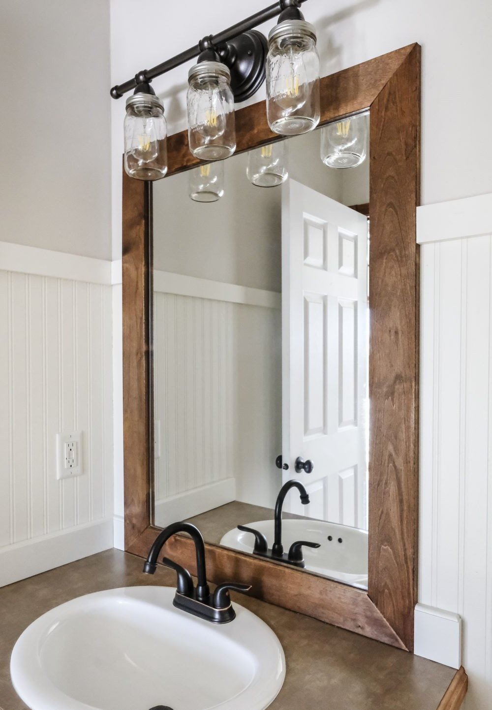 Wood Framed Wall Mirrors Inside Trendy How To Add A Diy Wood Frame To A Bathroom Mirror (View 19 of 20)