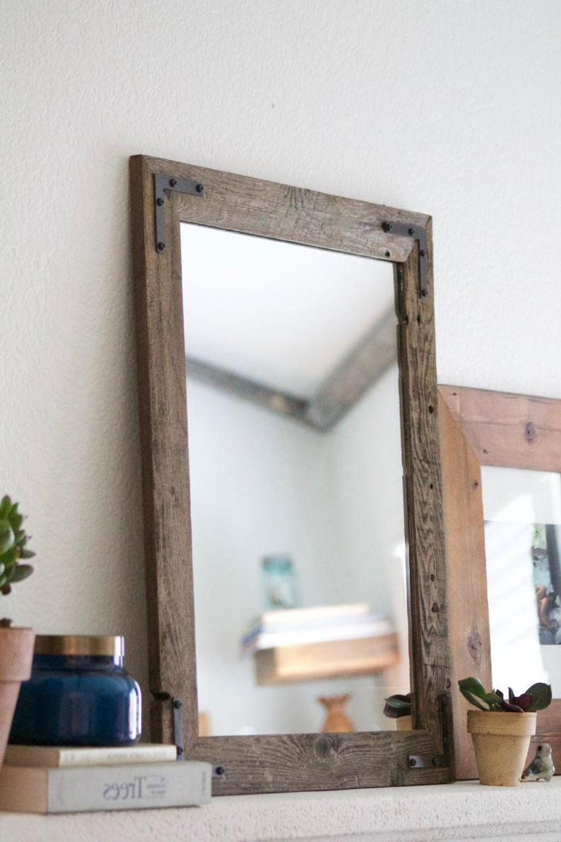 Wood Mirror, Rustic Wall Mirror, Wall Mirror, Vanity Mirror, Bathroom Mirror, Rustic Mirror, Reclaimed Wood Mirror, Mirror, Mirrors, Home Inside Best And Newest Rustic Wall Mirrors (View 11 of 20)
