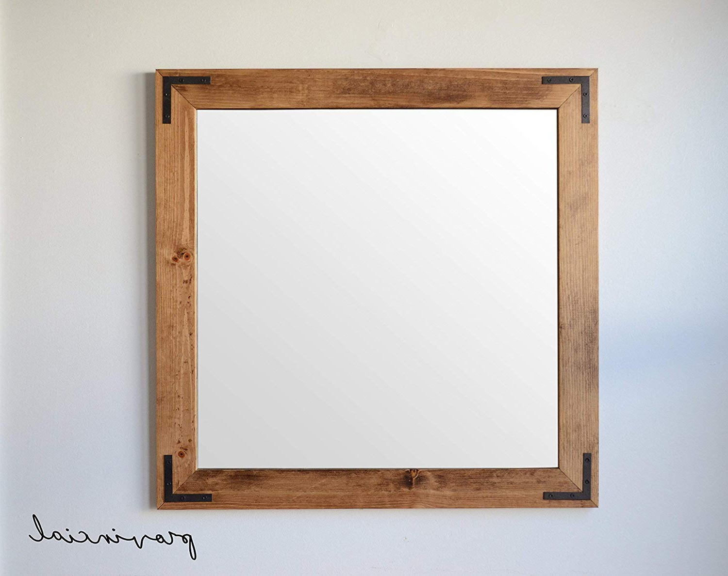 Wooden Wall Mirrors Inside Current Amazon: Rustic Wooden Wall Mirror W/corner Brackets (View 3 of 20)