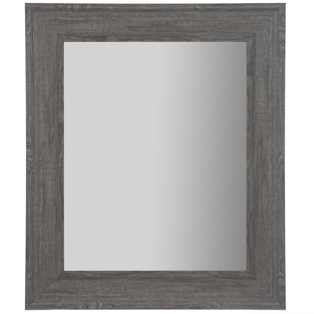 Woodgrain Framed Rectangular Graywash Decorative Mirror Pertaining To Most Current Flat Wall Mirrors (View 7 of 20)