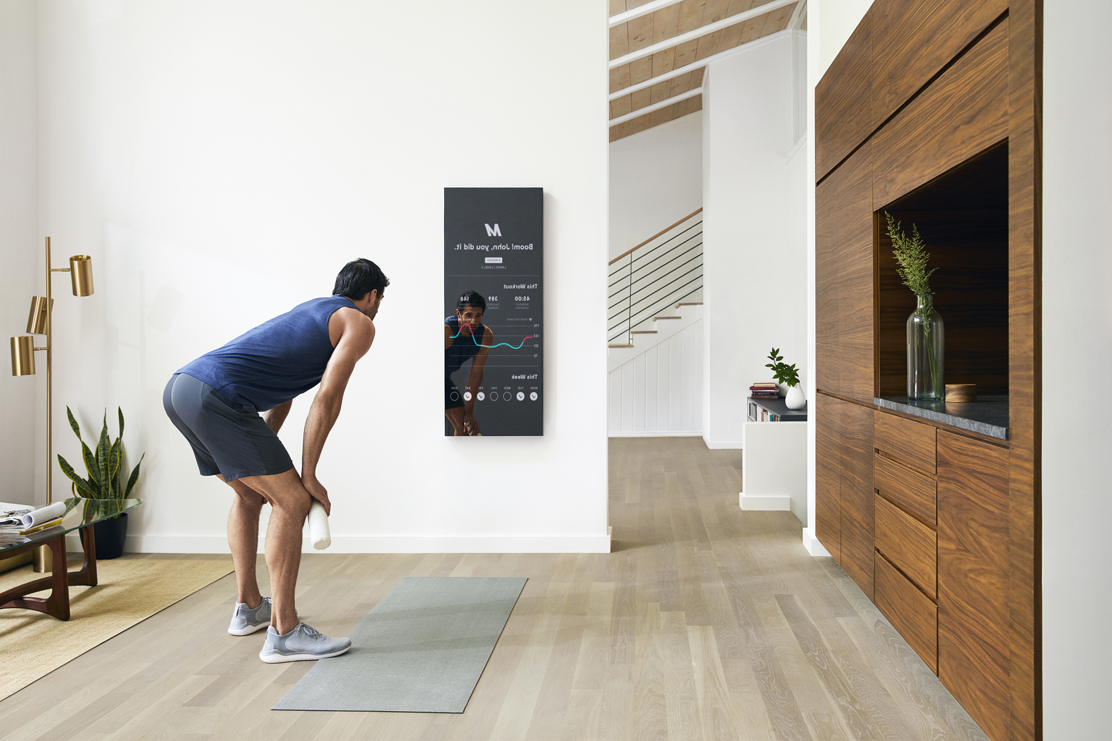 Work Out In Front Of 'mirror,' A Futuristic At Home Gym Inside Current Large Wall Mirrors For Gym (View 11 of 20)