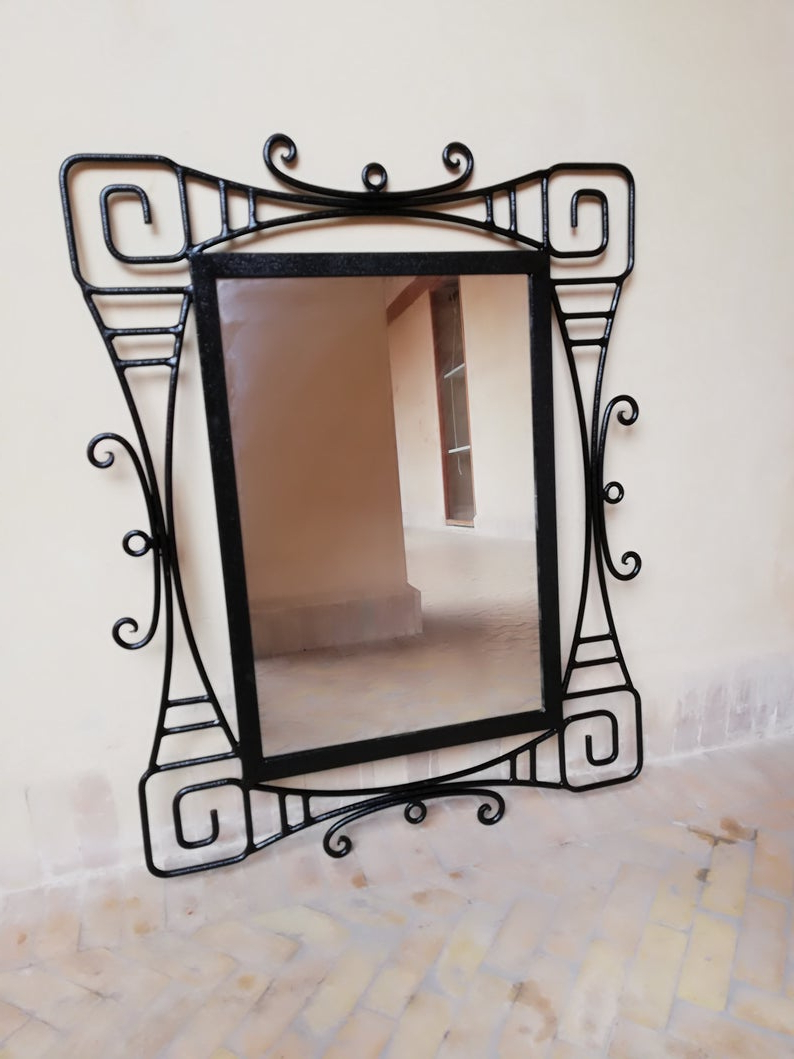 Wrought Iron Wall Mirrors Regarding Most Up To Date Wrought Iron Mirror , Wall Mirror Wrought Iron , Large Moroccan Wrought Iron Mirror , Moroccan Mirror Handmade , Decorative Mirror (View 3 of 20)