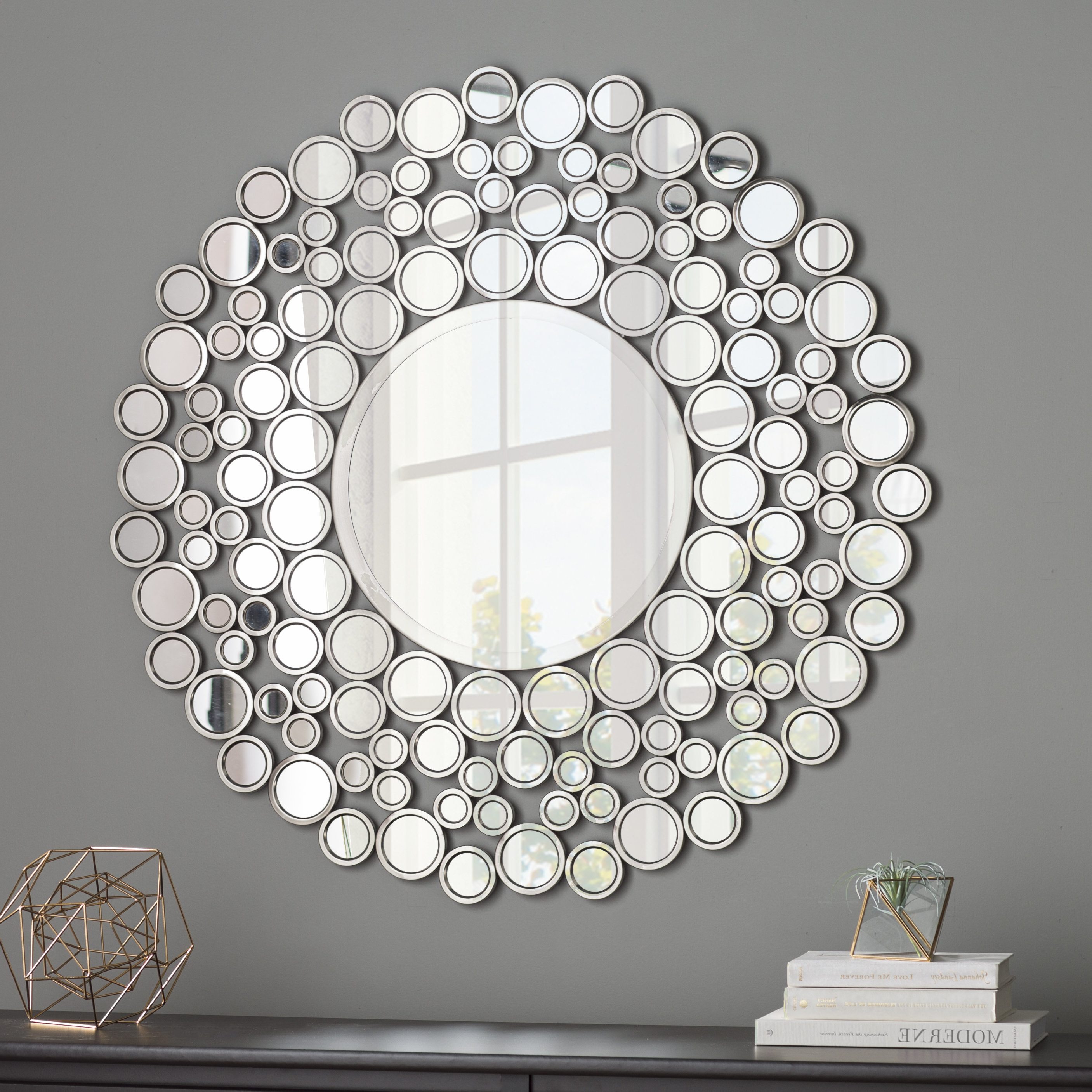 Wrought Studio Kentwood Round Wall Mirror Within Most Current Tata Openwork Round Wall Mirrors (View 13 of 20)