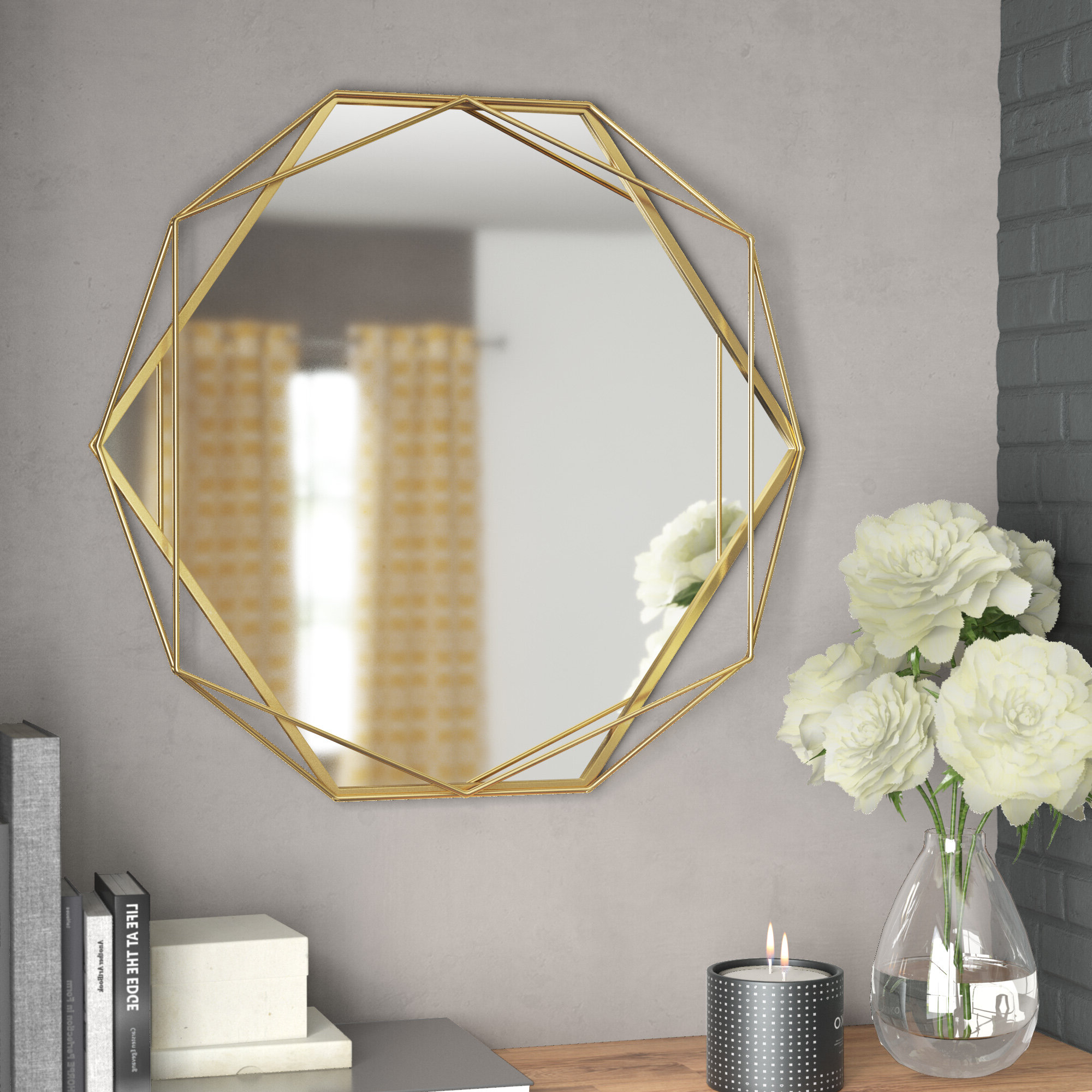 Wrought Studio Pippin Metal Frame Wall Mirror Regarding Well Liked Carstens Sunburst Leaves Wall Mirrors (View 10 of 20)