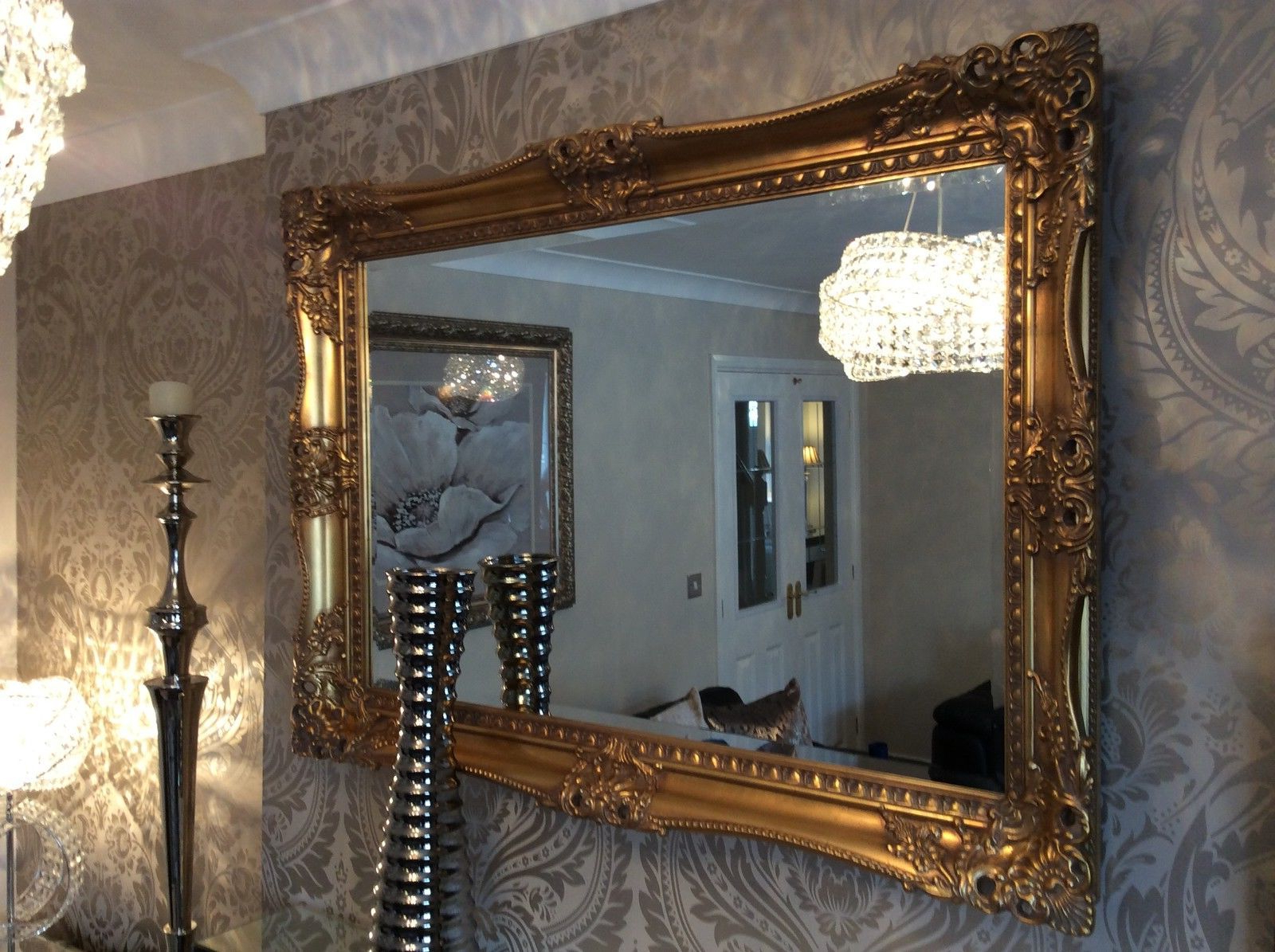 X Large Antique Gold Shabby Chic Ornate Decorative Wall Mirror Free Postage Regarding Trendy Antique Gold Wall Mirrors (Gallery 10 of 20)