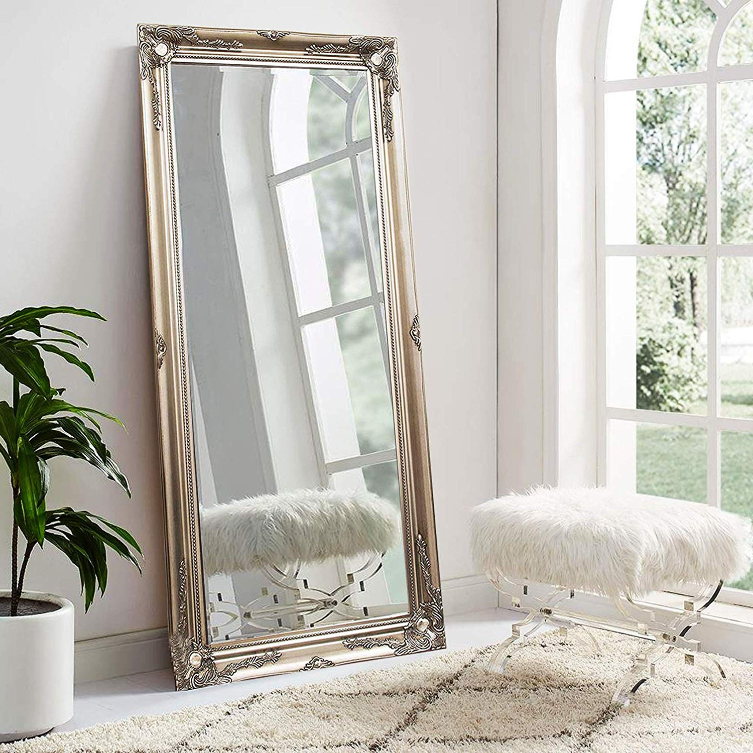 X Large Wall Mirrors Inside Most Recently Released Fb Funkybuys® Modern Large Sliver Antique Wall Mirror Shabby Chic Full  Length Leaner Vintage Style Floor Mirror (X Large:75 X 105Cm) (View 18 of 20)