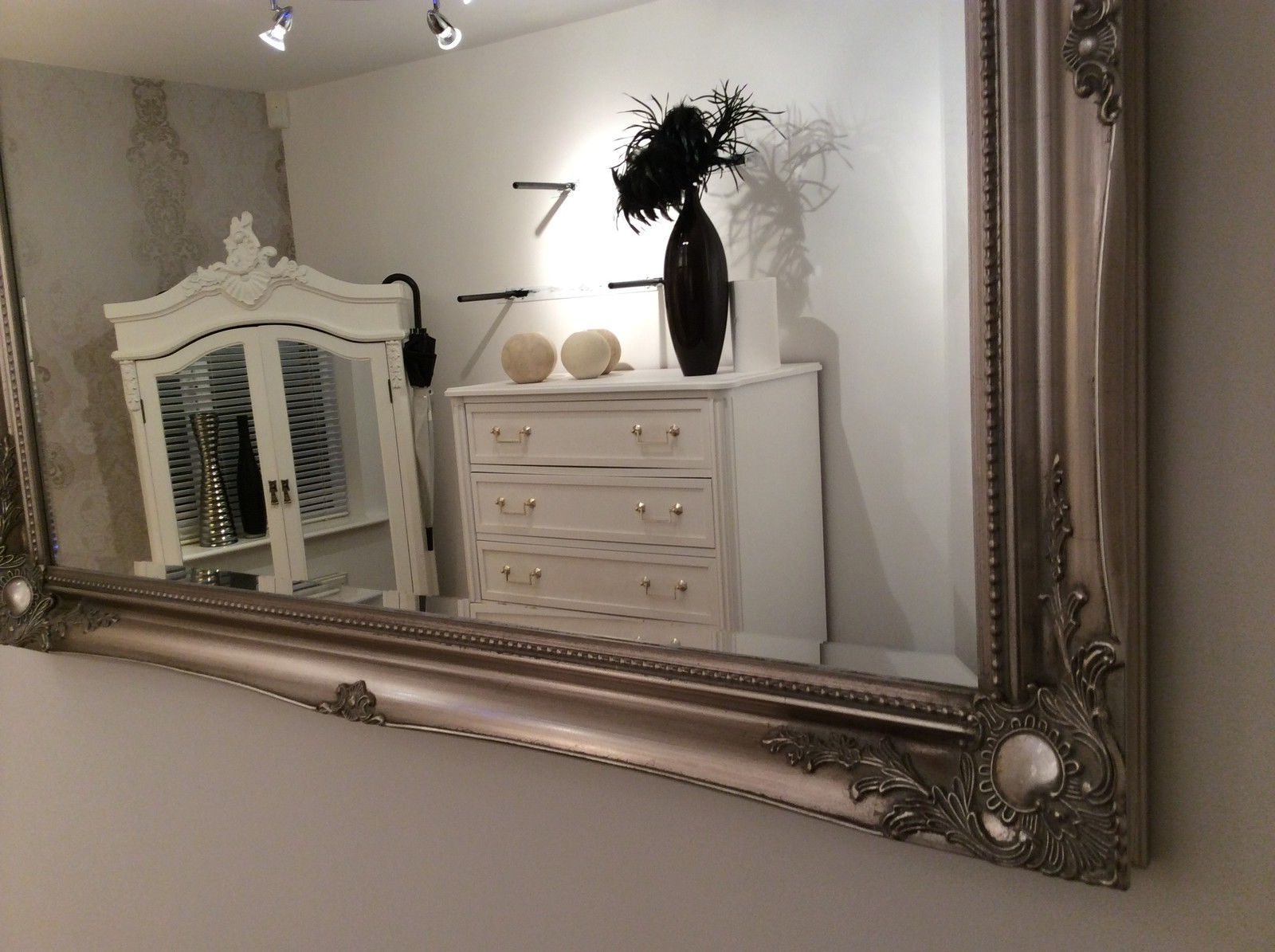 X Large Wall Mirrors Intended For Famous Large Silver Shabby Chic Wall Mirror – 42Inch X 30Inch – 107Cm X 76Cm *free  P&p* (View 19 of 20)