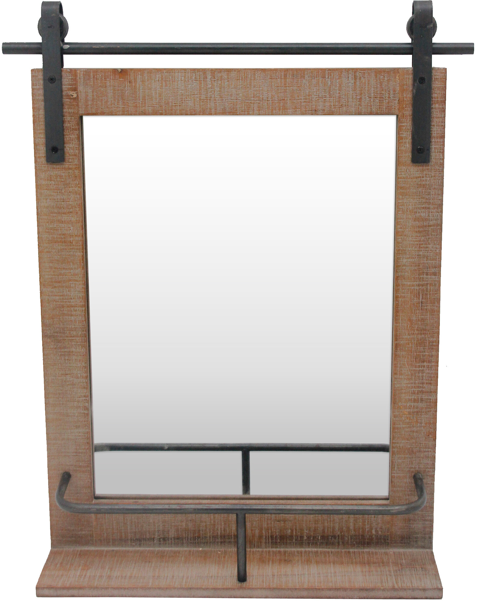 Yatendra Cottage/country Beveled Accent Mirrors For Latest Nielsen Barn Door Rustic Accent Mirror With Shelves (Gallery 15 of 20)