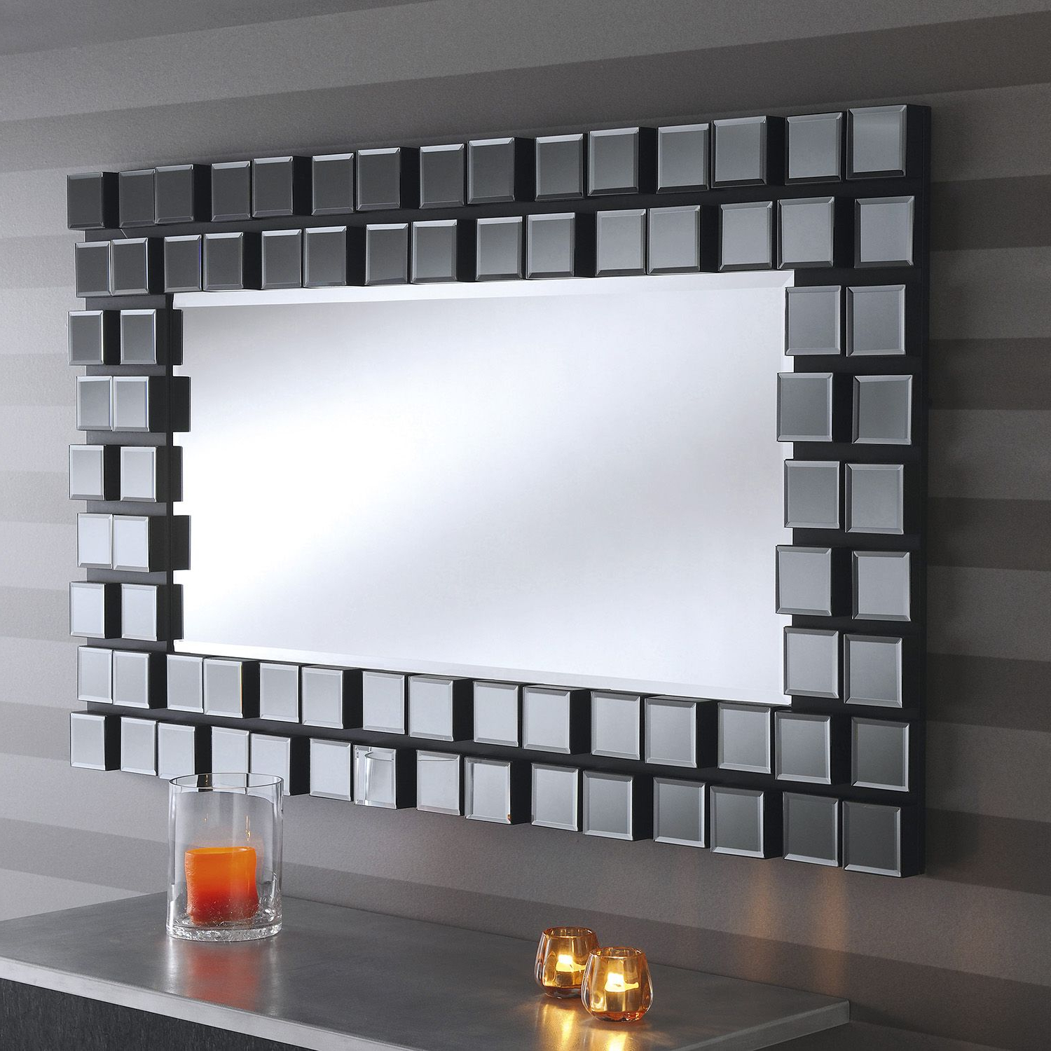 Yearn Pixel Wall Mirror In Grey – Next Day Delivery Yearn Pixel Wall Inside Recent Gray Wall Mirrors (Gallery 19 of 20)
