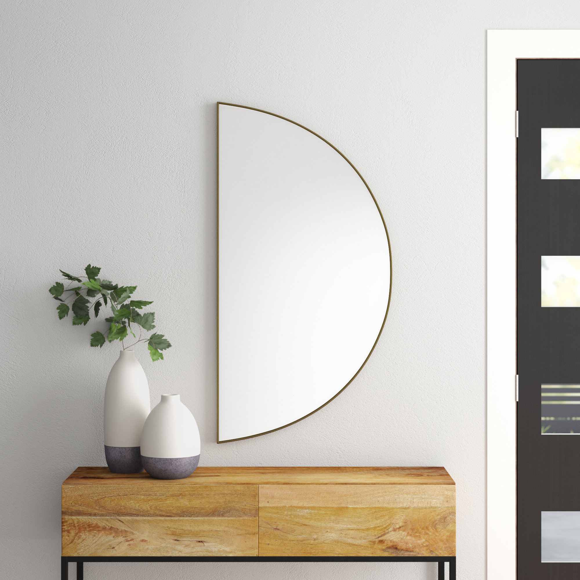 Yedinak Modern Distressed Accent Mirrors Within Famous Wilhelmina Eclectic Semicircle Shape Accent Wall Mirror (View 8 of 20)