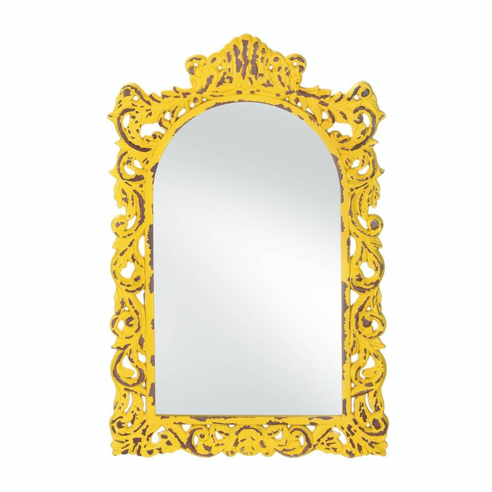 Yellow Wall Mirrors For 2019 Details About Mirror Wall, Rustic Contemporary Framed Square Opulent Yellow  Wall Mirror Art (Gallery 2 of 20)