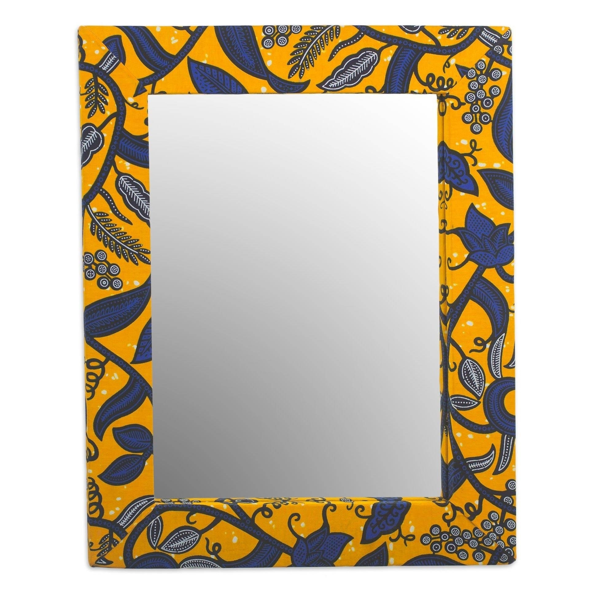 Yellow Wall Mirrors For Most Recent Batik Cotton And Wood Wall Mirror – Yellow (View 13 of 20)