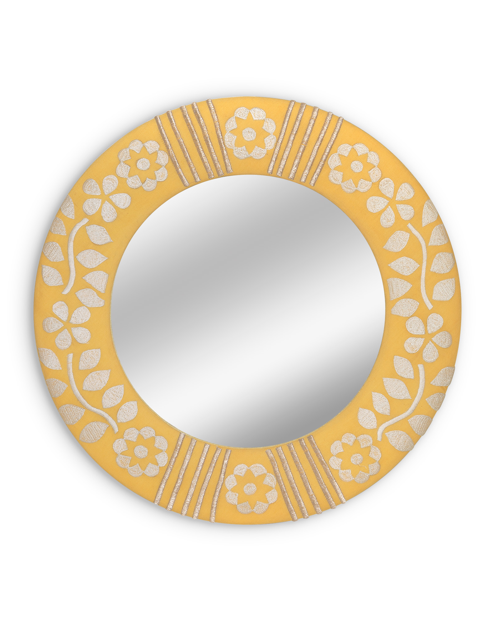 Yellow Wall Mirrors Throughout Famous Fabric Embroidered Circle Yellow Wall Mirror Extra Small (View 12 of 20)