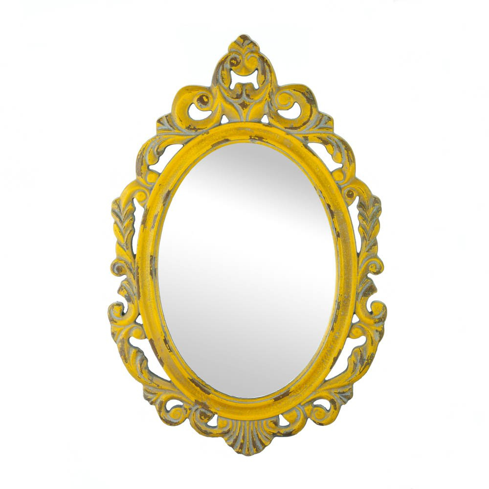 Yellow Wall Mirrors With Regard To Newest Vintage Hannah Yellow Mirror (Gallery 7 of 20)