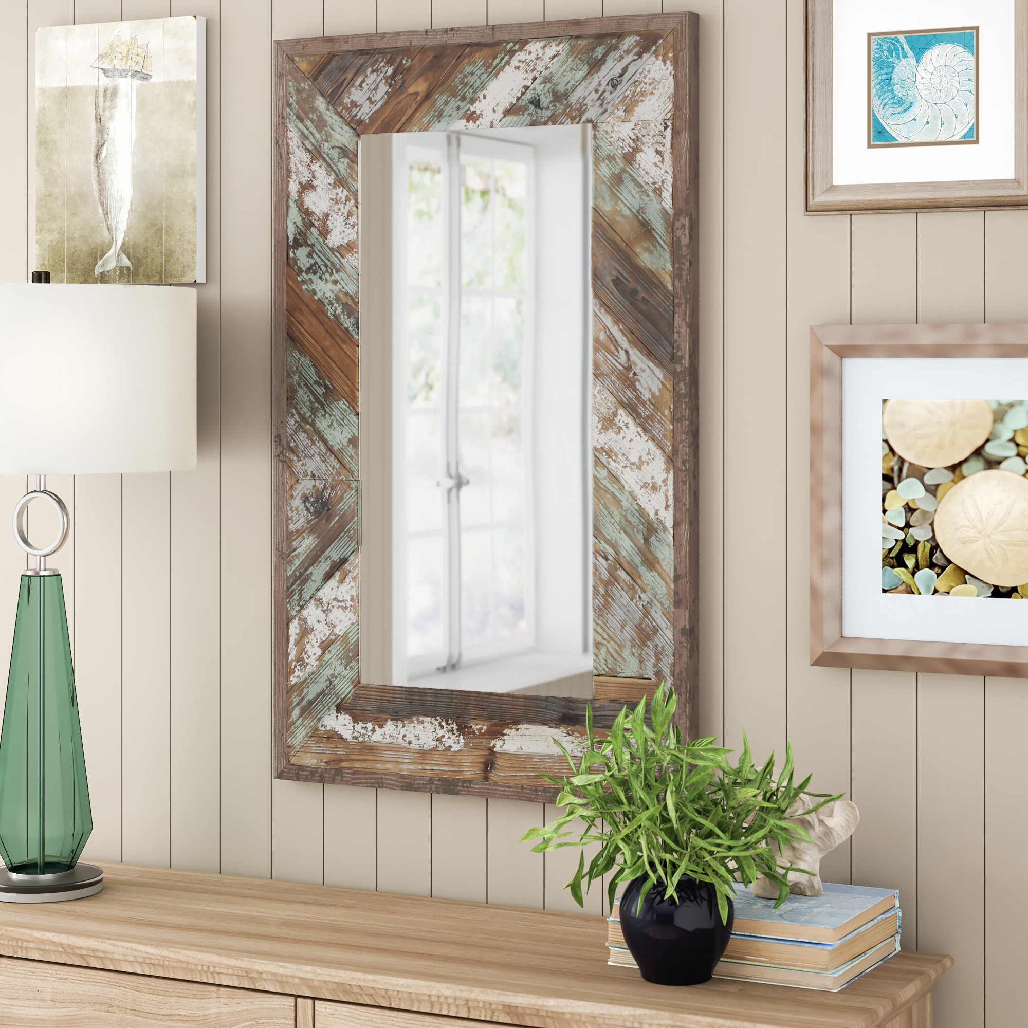 Yorktown Distressed Wood Slat Wall Mirror For Fashionable Distressed Wood Wall Mirrors (View 20 of 20)